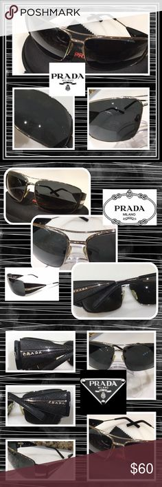 Prada SPR 55H Black & Silver Aviator Sunglasses #3 Authentic PRADA Black and metal tone unisex Aviator style sunglasses. The metal and textured triangle shaped arms are in very good condition with minor surface wear. The name Prada in silver decorates the arms. The serial # is etched in the right lens. The lenses show heavy wear particularly the left one. They minimally affect the vision. They are still wearable. The arms still fit well. The size is 63-12-120. Comes with black cloth clam…