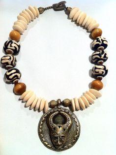 Bone Brass Necklace by SimonesBoutique on Etsy, $155.00