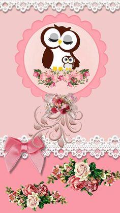 By Artist Unknown. Owl Wallpaper, Animal Wallpaper, Cellphone Wallpaper, Iphone Wallpaper, Cute Wallpaper Backgrounds, Cute Wallpapers, Owl Background, Cute Owl Cartoon, Owl Card