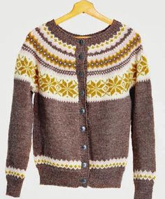 Nancykofte Dame Mellombrun Ladies Cardigan Pattern free if yarns for garment is purchased at the same time. Cardigan Pattern, Knit Cardigan, Sweater Jacket, Men Sweater, Fair Isles, Knit Fashion, Vintage Knitting, Cardigans For Women, Mantel