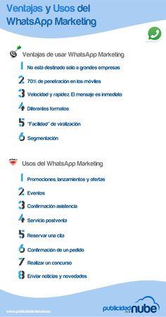Hola: Una infografía sobre Ventajas y usos del WhatsApp Marketing. Vía Un saludo