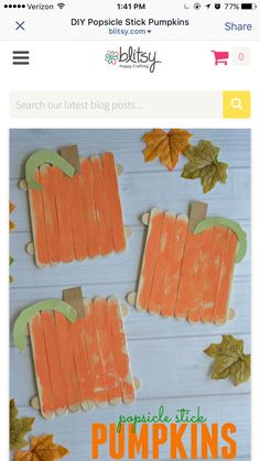 Popsicle Stick Pumpkins - Kid Craft These one-of-a-kind pumpkins are easy to whip up and are perfect for children of ALL ages. Plus the customization part is pretty much endless! Popsicle Stick Crafts, Popsicle Sticks, Craft Stick Crafts, Easy Crafts, Diy And Crafts, Craft Ideas, Craft Projects, Diy Ideas, Easy Diy