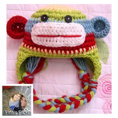 "My son Finn picked today's knithack - it's a cute one! ""Finn's Pick: Sock Monkey Hat"" #crochet #sockmonkey #rainbow"