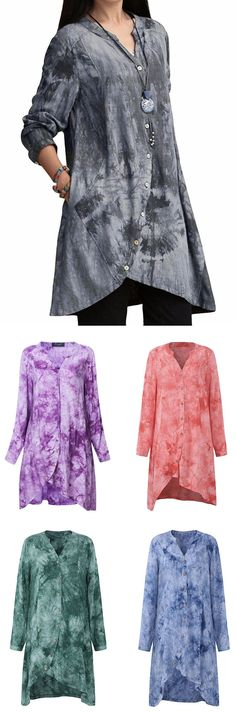 US$ 22.97 O-NEWE Women Vintage Printing V Neck Button Irregular Blouse