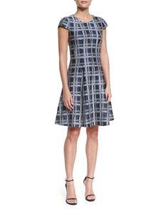 Cap-Sleeve Linen-Blend A-Line Dress, Astral Multi