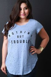 Nothing But Trouble Graphic Print Distressed Tee