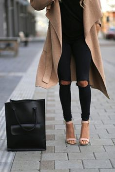 Coat: duster nude camel long nude sandals ankle strap heels black ripped jeans black jeans ripped