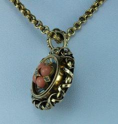Coral & enamel necklace, pendant. British, ca. 1860.   In the Swan's Shadow