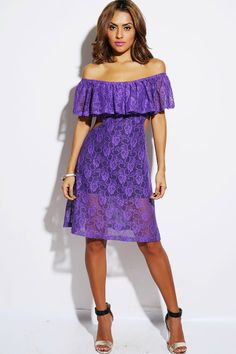 #1015store.com #fashion #style lilac purple lace ruffle off shoulder cut out party midi dress-$15.00