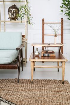 This is our Kent side table featured in this months Libra #PatinaZodiacStyle project. We have two of these guys in our inventory. A sweet mid-century two toned wood detailed table, pretty sweet. | Patina