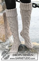 """Ravelry: 103-10 Long socks in """"Karisma Superwash"""" with cables and folded edge pattern by DROPS design @Katie Maurer, I would pay you to make me some of these. =)"""