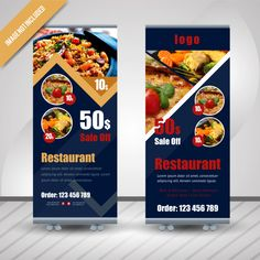 Abstract Food Roll Up For Restaurant Signage Design, Ad Design, Brochure Design, Branding Design, Pop Up Banner, Food Banner, Banner Ideas, Rollup Banner Design, Standing Banner Design
