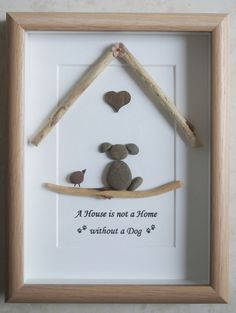 Pebble Art framed Picture A House is not a Home by Jewlls4u