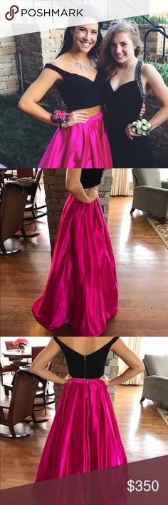 Gorgeous Sherri Hill Two Piece Gown Detailed Black off the shoulder top with built in padding. Cascading pink silky skirt with lining underneath. Sherri Hill Dresses Prom
