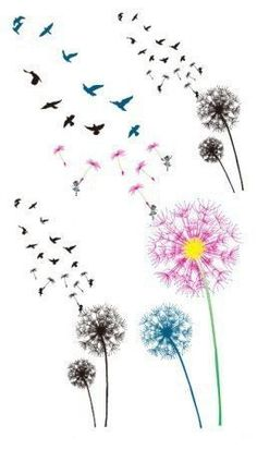 Color the dandelion birds Temporary Tattoo6pcs in 1 by NiceTatoos | Health & beauty | Pinterest | Faith tattoos, So cute and Birds #TattooRemoval #TemporaryTattooRemoval