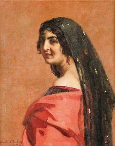 Peinture Algérie - Femme algéroise par Emile Aubry