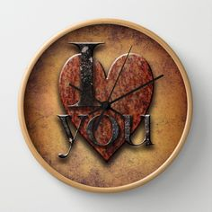 I Love You Wall Clock by Paul Stickland for StrangeStore #steampunk #strangestore #iloveyou #valentines #valentinesday