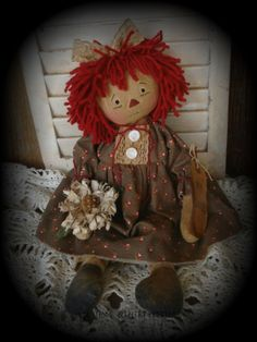 Primitive Olde Raggedy Ann Doll With Her Daisy #NaivePrimitive