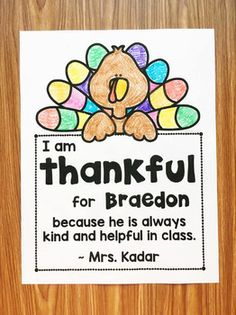 Free Thankful Note for Your Students (Editable) - Thanksgiving Messages Thanksgiving Messages, Thanksgiving Preschool, Fall Preschool, Kindergarten Classroom, Preschool Bulletin, Thanksgiving Ideas, Kindergarten Rocks, Kindergarten Activities, Classroom Activities