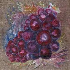grape, oil-painting, canvas, 20x20cm tendenz: symbolizmus