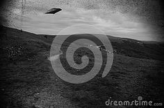 Image similar to some old black and white pictures with UFO flying over fields.