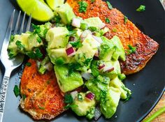 BLACKENED SALMON w/ AVOCADO SALSA ⠀⠀ .⠀⠀ Blackened Salmon with Avocado Salsa⠀ .⠀ Checkout the link in our bio for our monthly meal plans!⠀⠀ Salmon seasoned with a tasty cajun spice blend and pan fr Fish Recipes, Seafood Recipes, Dinner Recipes, Cooking Recipes, Healthy Recipes, Dinner Ideas, Detox Recipes, Cooking Tips, Keto Salmon