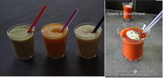 Verrines de soupes froides (à conserver stérilisé) :  * Carotte - lait de coco - cumin * Gaspacho * poivrons rouges - mascarpone * concombre - menthe - lait de coco