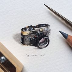 Day 231 : Leica M4-P 180.  22 x 20 mm. #365postcardsforants #wdc624 #miniature #watercolour #painting #leica #camera #photography #capetown