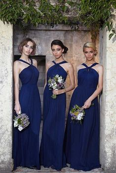 Find More Bridesmaid Dresses Information about Halter New Long Bridesmaid Dresses 2015 Chiffon Royal Blue Bridesmaid Group Dresses Gown,High Quality dress times,China dress sparkle Suppliers, Cheap gown wedding from Hh-Dress on Aliexpress.com