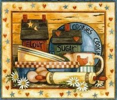 Discover thousands of images about Rolling Pin and Flowers pieces) Arte Country, Pintura Country, Country Style, Tole Painting, Painting On Wood, Arts And Crafts, Paper Crafts, Country Paintings, Decoupage Paper
