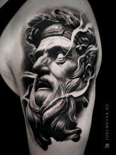 Zeus Satue Realistic Tattoo Black and Grey Joel Meyer Zeus Tattoo, Statue Tattoo, Hades Tattoo, Poseidon Tattoo, Leg Tattoo Men, Tattoo Motive, Arm Tattoo, Body Art Tattoos, Sleeve Tattoos