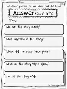 Free first grade reading response worksheets