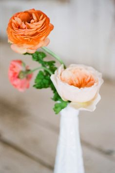 Rose and Ranunculus Bud Vase