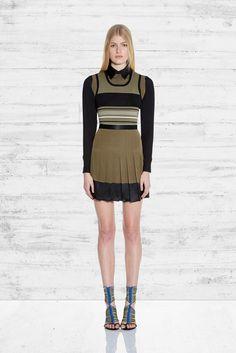Ohne Titel | Pre-Fall 2015 | 02 Green/black striped long sleeve mini dress with pleated skirt