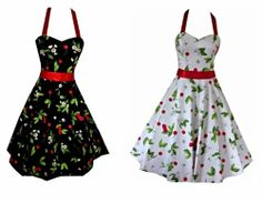 Pretty Kitty Fashion Cherry Rockabilly 50s Pin-Up Prom Swing Dress [Available From Amazon(UK & Ireland) £27.95 - £34.99  Where applicable you'll select size, color, etc. after you click the buy button]