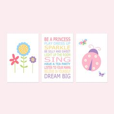 Young Girl Room Decor, Bedroom Decor for Girls, Ladybug Print, Girl Bedroom Decor, Flower Print, Quotes for Girls, Set of 3 Prints or Canvas Woodland Nursery Prints, Woodland Animal Nursery, Nursery Decor Boy, Bedroom Decor, Girl Room, Girls Bedroom, Happy Flowers, Girl Quotes, Playing Dress Up