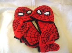 """Ravelry: Spiderman Hat """"n"""" scarf pattern by susan wilkie Crochet Kids Hats, Crochet Cap, Manta Crochet, Crochet Beanie, Crochet Scarves, Knitted Mittens Pattern, Knitted Hats, Knitting Patterns, Crochet Patterns"""