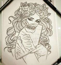 Tattoo Girl Sketch Tat 70 New Ideas Tattoo Design Drawings, Pencil Art Drawings, Cool Art Drawings, Art Drawings Sketches, Tattoo Sketches, Tattoo Girls, Tattoo Designs For Girls, Girl Tattoos, Tatoos
