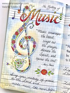 """featuring pages of """"M"""" for Music in my A-Z of Mystery Moleskine Journal. Music is what feelings sound like, speaks when words fail. Music Journal, Art Journal Pages, Art Journaling, Scripture Art, Bible Art, Music Drawings, Commonplace Book, Doodle Art Journals, Color Quotes"""