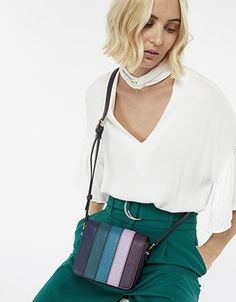 Panelled with faux-leather stripes in a compact square shape, this cross-body bag is the perfect way to pep up this season's outfits. Accessorize Bags, Women's Accessories, Beachwear, Crossbody Bag, Cross Body, Purses, Outfits, Shopping, Collection