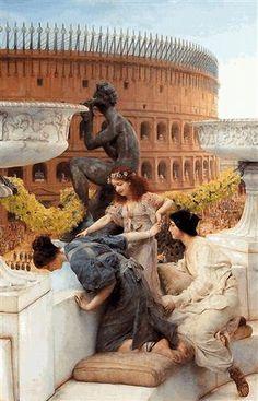 The Colosseum -  Artist: Sir Lawrence Alma-Tadema  Completion Date: 1896  Style: Romanticism  Genre: genre painting  Technique: oil  Dimensions: 73.6 x 112 cm  Gallery: Private Collection