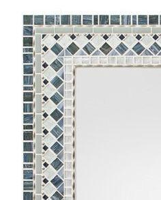 Wall Mirror  Silver & Gray Mosaic by opusmosaics on Etsy