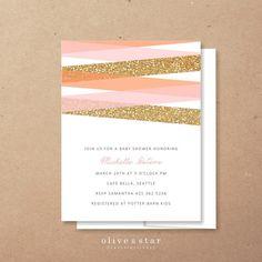 mondern stripes glitter // baby shower by OliveandStar on Etsy