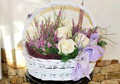 Podziękowania dla rodziców, kosz z kwiatami,.biel, fiolet Grapevine Wreath, Grape Vines, Wreaths, Wedding, Decor, Valentines Day Weddings, Decoration, Door Wreaths, Vineyard Vines