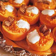 Thoughtful Presence: Favorite Thanksgiving Recipe: Mashed Yams in Orange Cups Mashed Yams, Mashed Sweet Potatoes, Pecan Recipes, Yam Recipes, Healthy Recipes, Lunch Recipes, Delicious Recipes, Sweet Potatoes With Marshmallows, Tumblers