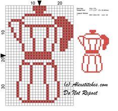 coffee pot kitchen monochrome cross stitch pattern - free cross stitch patterns by Alex Cross Stitching, Cross Stitch Embroidery, Cross Stitch Patterns, Hand Embroidery Patterns, Crochet Patterns, Cross Stitch Kitchen, Grid Design, Fair Isle Knitting, Knitting Charts