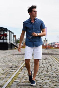 Short sleeve button down + white shorts + navy slip-ons