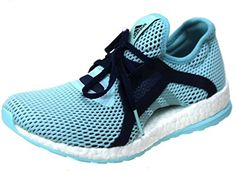 adidas Women's Pureboost X Running Shoes, Light Blue/Navy/White, 7.5 US ** You can get more details by clicking on the image.