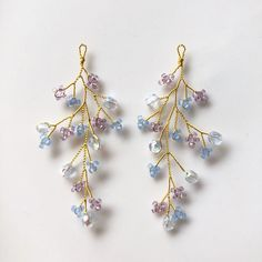 小枝スタンダードピアス/イヤリング(アイスブルーパープル) Ear Jewelry, Bead Jewellery, Cute Jewelry, Bridal Jewelry, Beaded Jewelry, Jewelery, Diy Earrings, Earrings Handmade, Handmade Jewelry