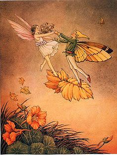 'Dance dance fairy, fairy bright Skip across the clouds so light,  Jump as far as skyward can,  Higher higher little man. Glide upon the rush of air, With the birds that fly up there, And when all the playing's done Take those wings and fly back home.' ~Adam Latham, from 'Dance Fairy, Fairy Bright' <> Art by Ida Rentoul Outhwaite
